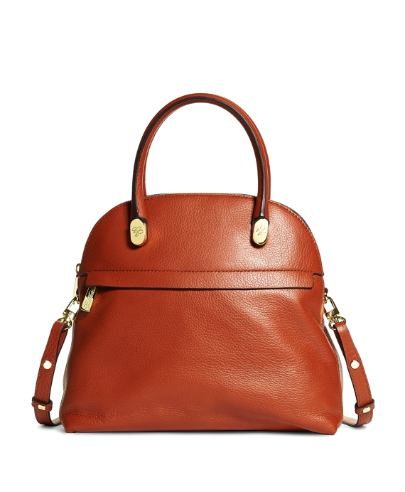 Medium Pebble Calfskin Dome Satchel Cognac