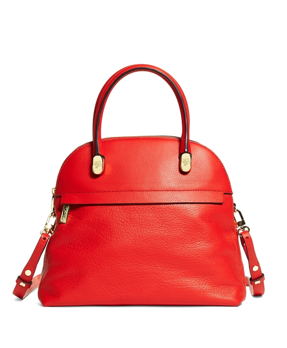 Medium Pebble Calfskin Dome Satchel Bright Red