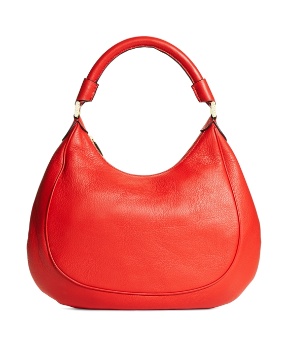 Medium Pebble Calfskin Hobo Bright Red