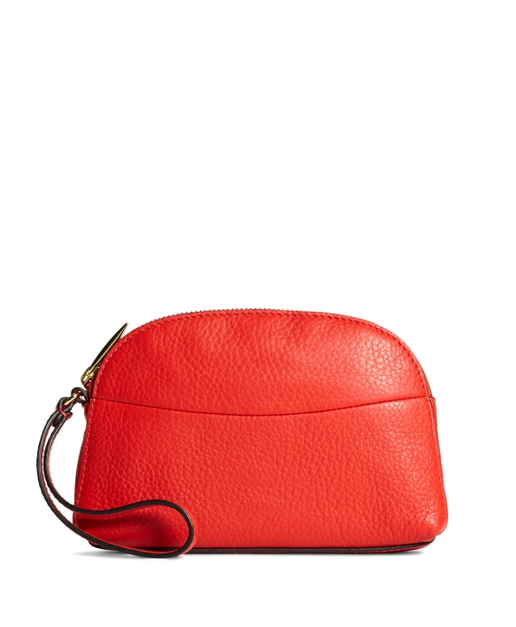 Pebble Calfskin Clutch Bright Red
