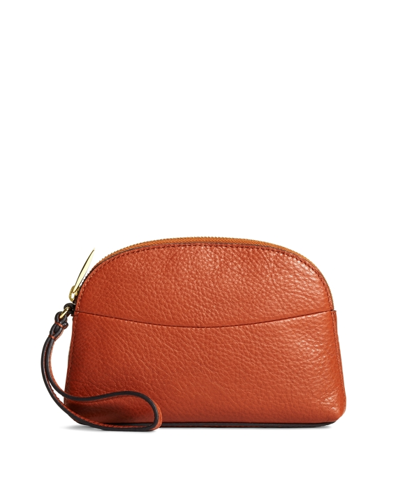 Pebble Calfskin Clutch Cognac