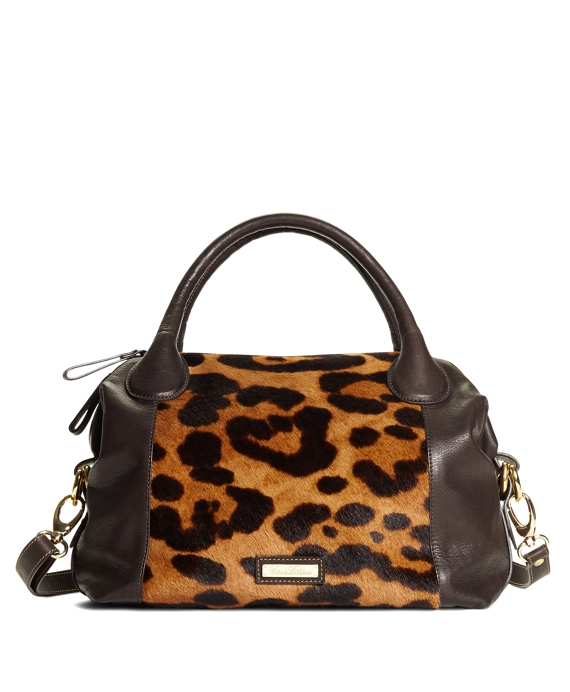 Small Leopard Haircalf Satchel Brown