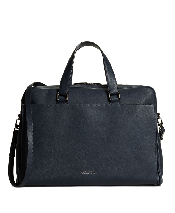 Large Leather Top Handle Work Bag Navy