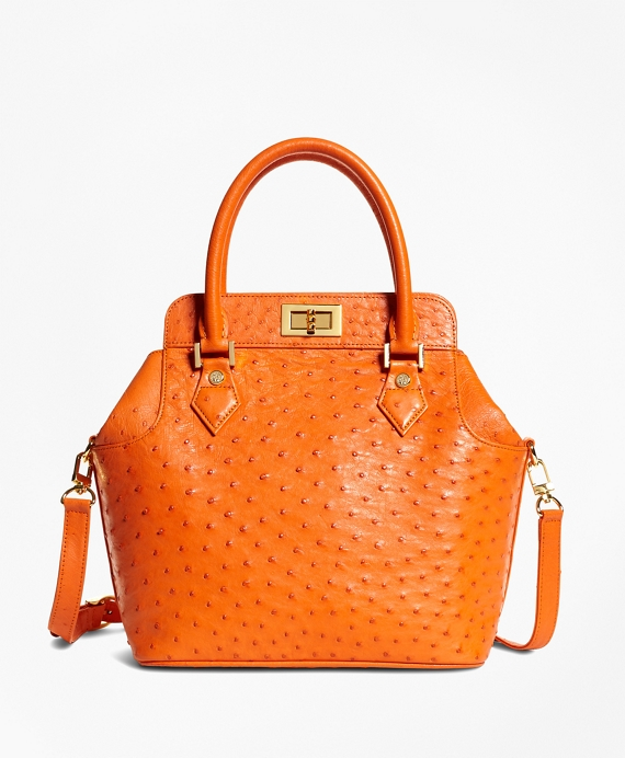 Ostrich Top Handle Satchel Bright Orange