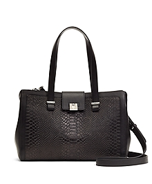 Leather Embossed Small Satchel