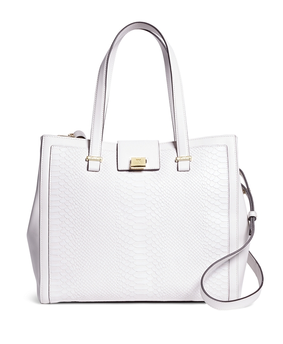 Leather Embossed Large Satchel White