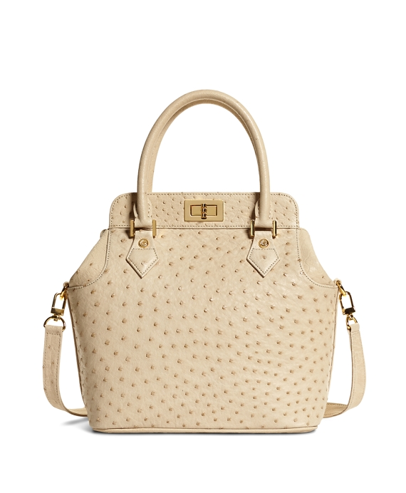 Ostrich Top Handle Satchel Taupe