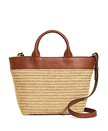 Small Leather and Straw Tote