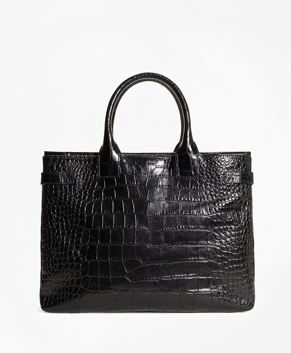 Embossed Leather Briefcase Black