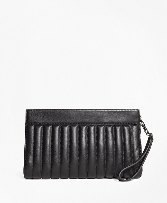 Leather Quilted Clutch Black