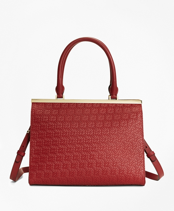 Woven Leather Satchel Red
