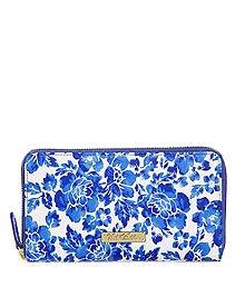 Full-Zip Leather Flower Print Wallet