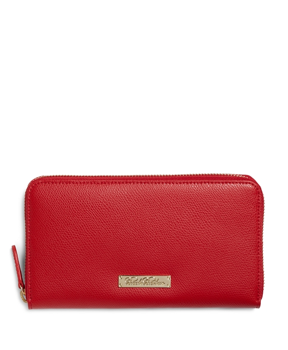 Full-Zip Leather Wallet Red