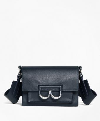 """Calf Leather """"B"""" Buckle Shoulder Bag"""