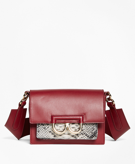 "Leather ""B"" Buckle Shoulder Bag"