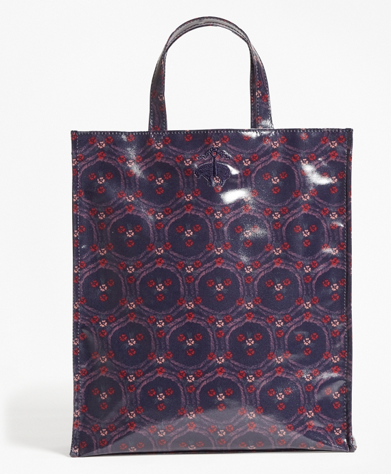Water-Resistant Graphic Tote Bag Navy-Red