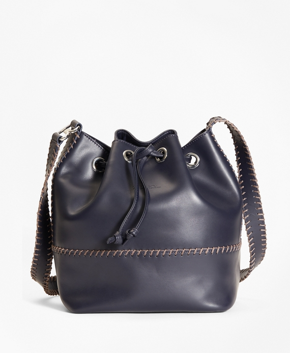 Leather Daria Bucket Bag Navy