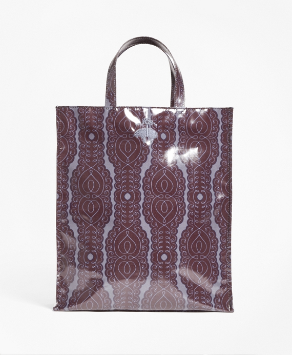 Scroll-Print Coated Canvas Tote Black-Multi