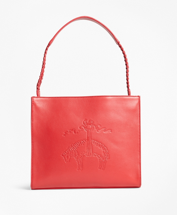 Golden Fleece®-Embossed Leather Handbag Red