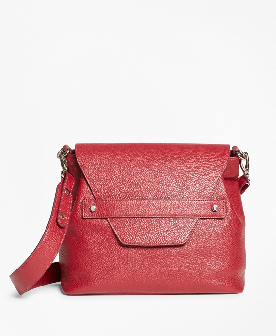 Pebbled Leather Envelope-Flap Shoulder Bag Red