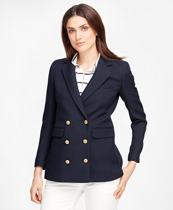 Wool Double-Breasted Blazer Navy
