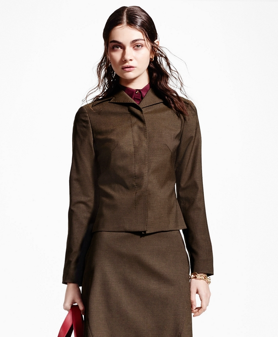 Pick-Stitched Wool-Blend Jacket Brown