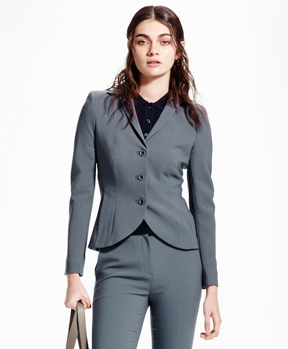Three-Button Wool Suit Jacket Grey