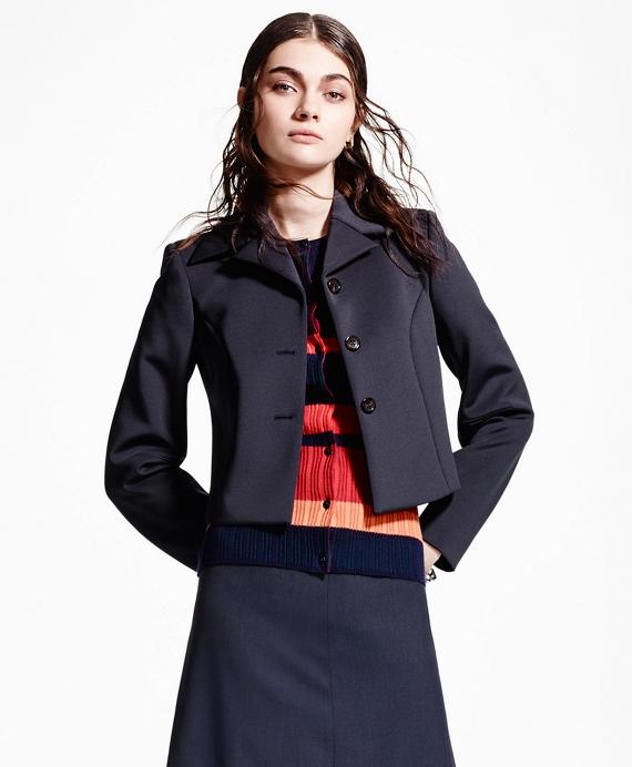 Single-Breasted Cropped Neoprene Jacket