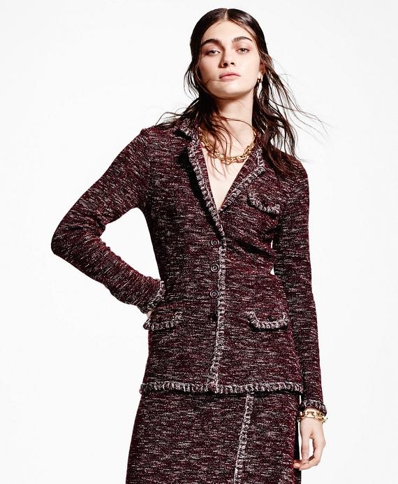 Blanket-Stitch Tweed Jacket