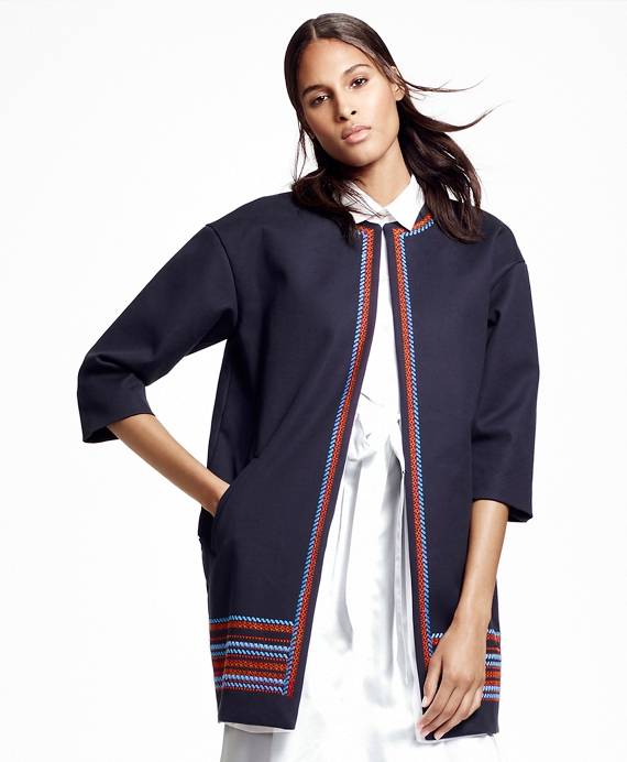 Embroidered Stretch Cotton Jacket Navy