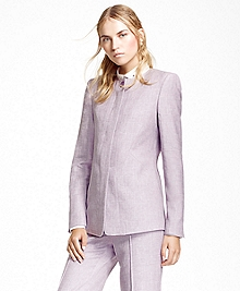 Collarless Linen-Blend Jacket