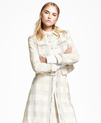 Textured Dobby Cotton-Blend Plaid Jacket
