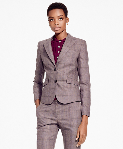 Single-Breasted Stretch Tweed Blazer
