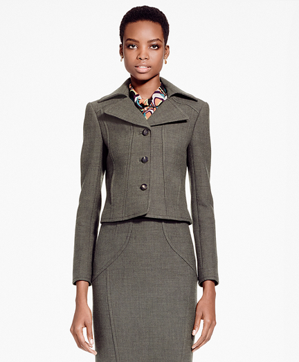 Cropped Stretch Wool Blazer