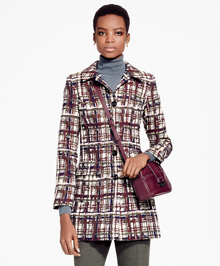 Plaid Jacquard Cotton Car Coat
