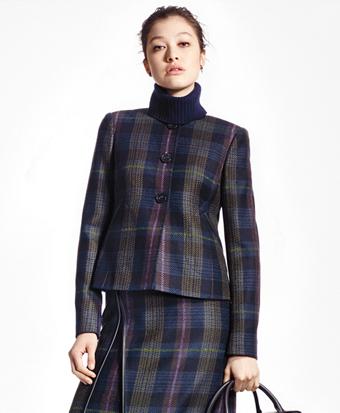 Tartan Wool Jewel-Neck Blazer