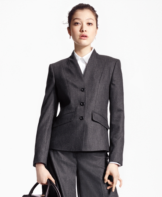 Single-Breasted Wool-Blend Flannel Blazer