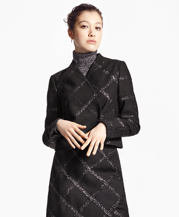 Cropped Windowpane Jacket Black
