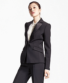 Single-Breasted Stretch Wool Tuxedo Jacket