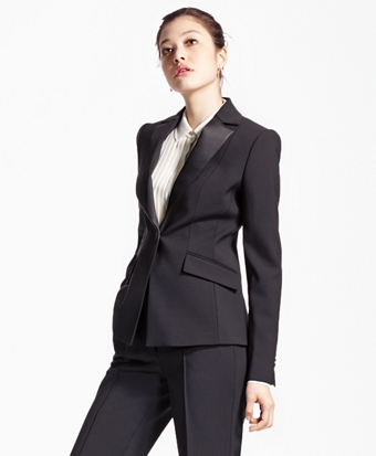 Single-Breasted Stretch Wool Tuxedo Jacket