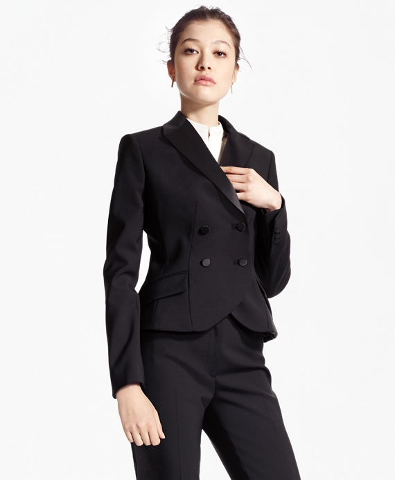 Double-Breasted Stretch Wool Tuxedo Jacket Black