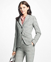 Stretch-Wool Glen Plaid Blazer