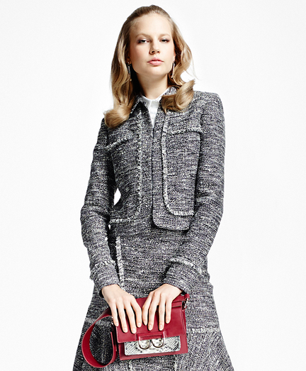 Tweed Fringe Cropped Jacket