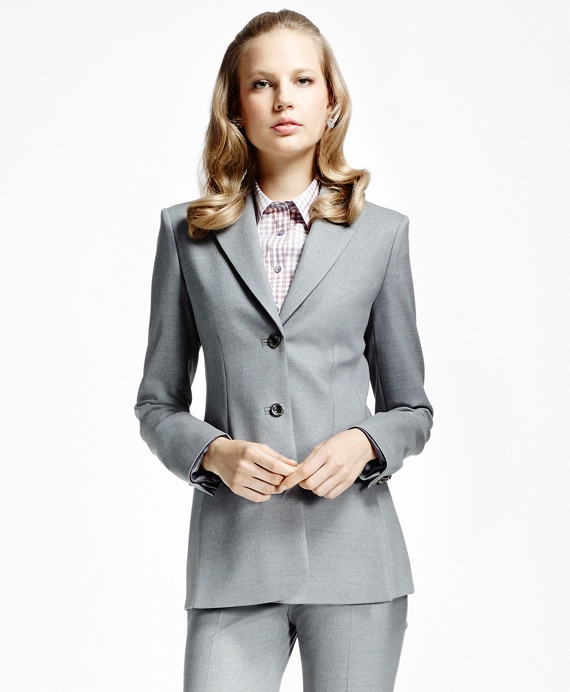 Heathered Stretch Wool Twill Blazer Grey