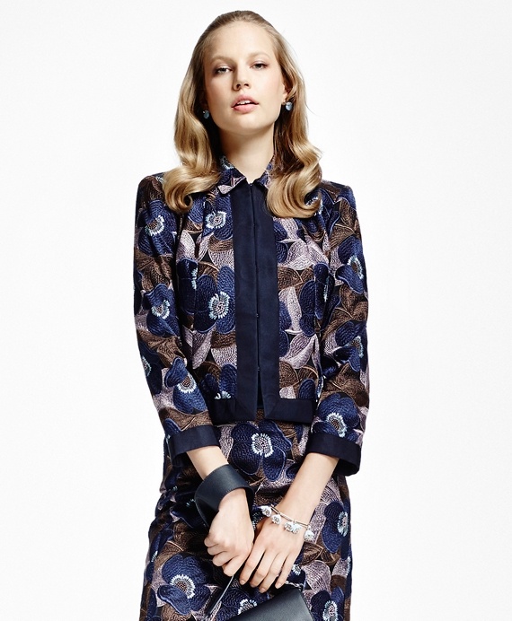 Floral-Embroidered Cropped Jacket