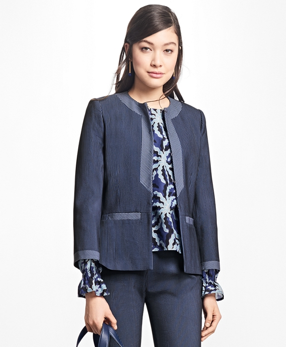 Corded Cotton-Blend Jacket Navy