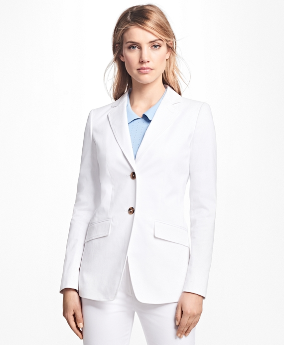 Two-Button Stretch-Cotton Twill Jacket White
