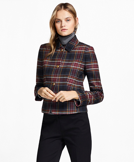 Plaid Double-Face Wool-Blend Jacket