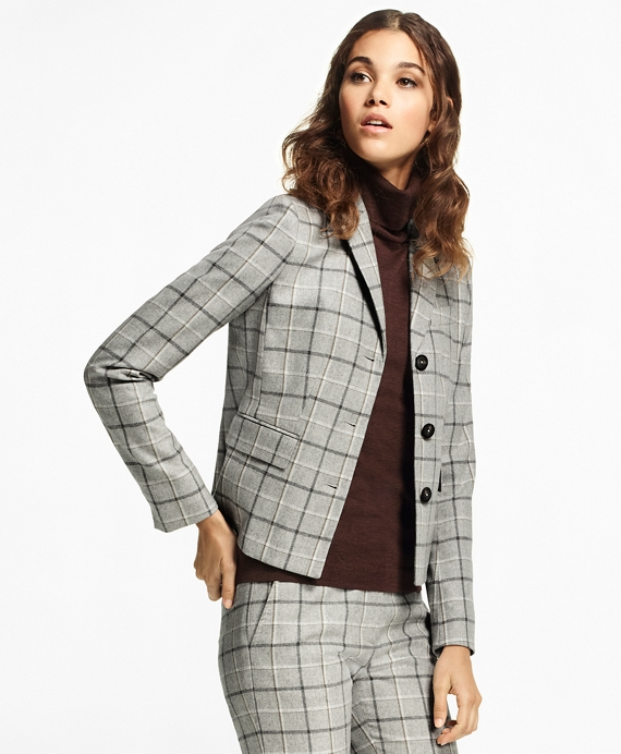 Windowpane Stretch-Wool-Cashmere Jacket Grey-Multi