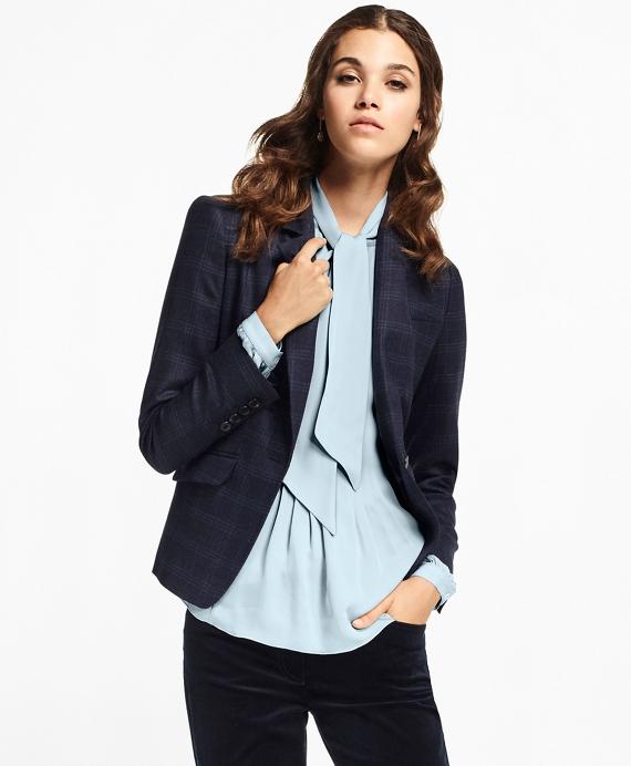 Plaid Stretch-Wool Jacket Navy
